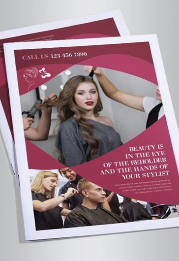 Hair Stylist – Bi-Fold Brochure PSD Template