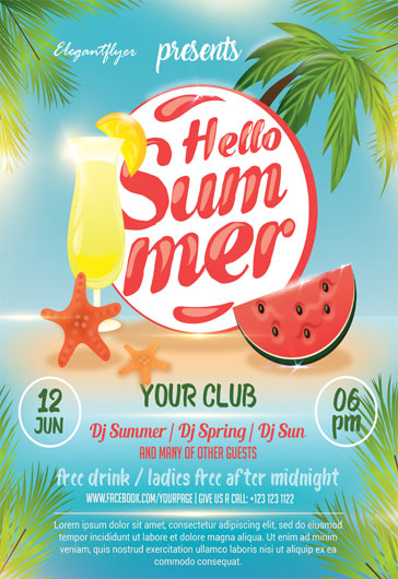 Hello Summer – Flyer PSD Template