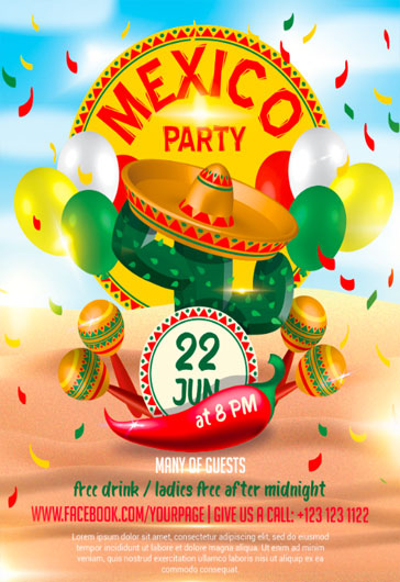 Mexico Party – Flyer PSD Template