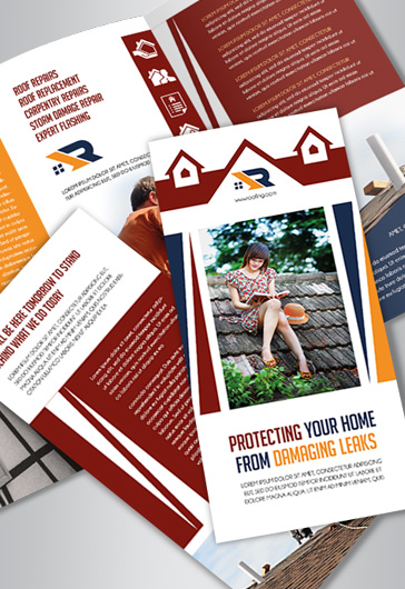 Roofing Company Tri-Fold Brochure in PSD