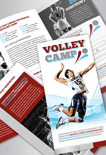 Volleyball Camp – Tri-Fold Brochure PSD Template