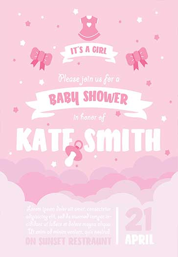 Baby Shower – Premium Flyer PSD Template + Facebook Cover