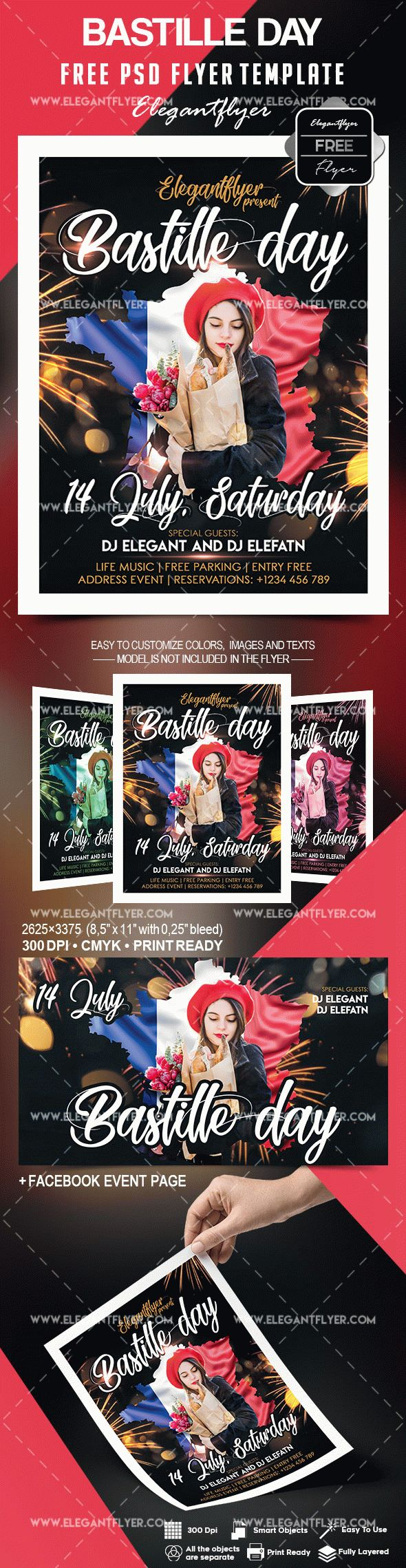 Bastille Day – Free Flyer PSD Template