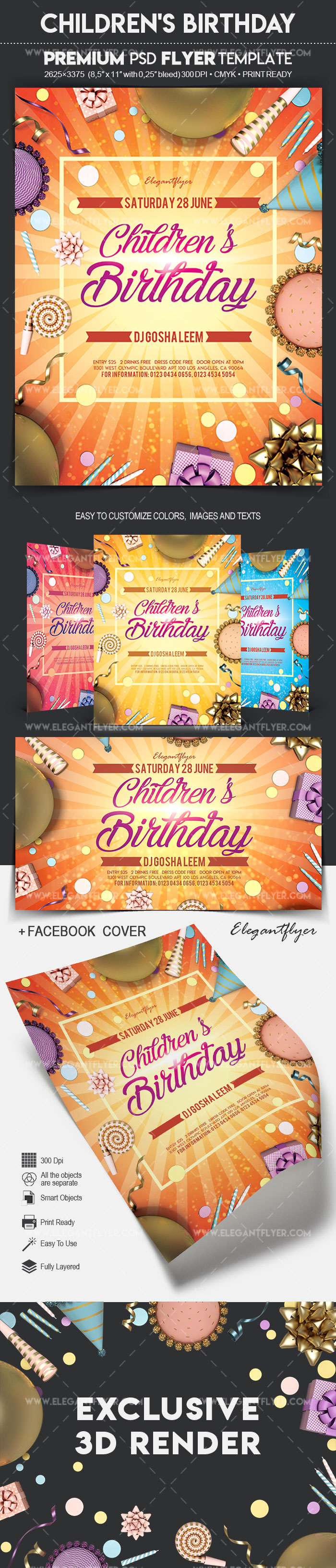 Children's Birthday – Flyer PSD Template