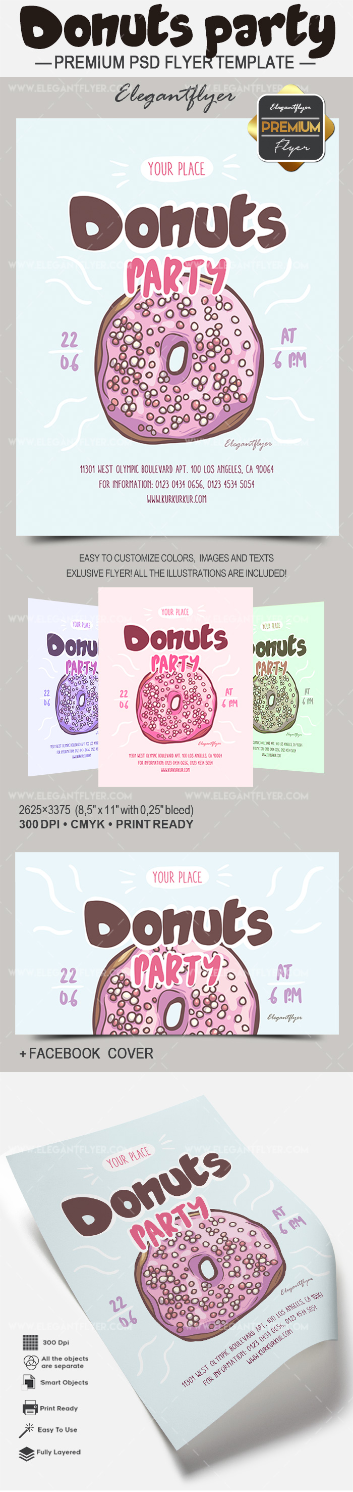 Donuts Party Flyer Template