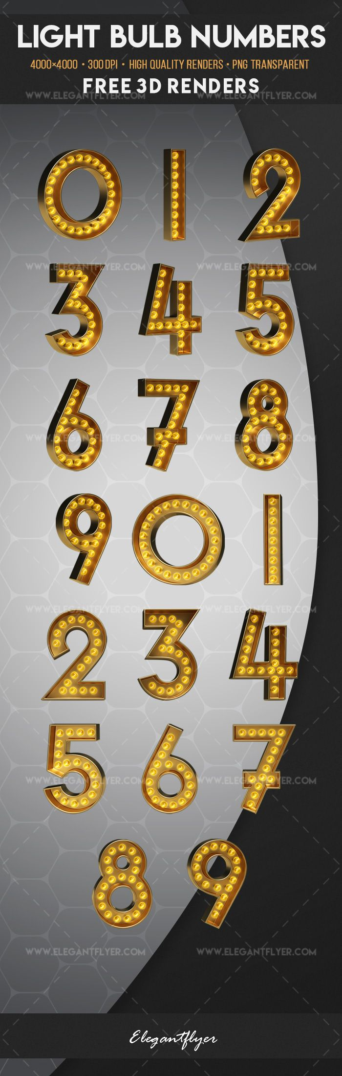 Light Bulb Numbers – Free 3d Render Templates