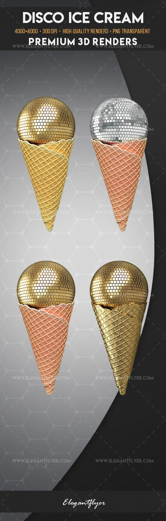 Disco Ice Cream – Premium 3d Render Templates