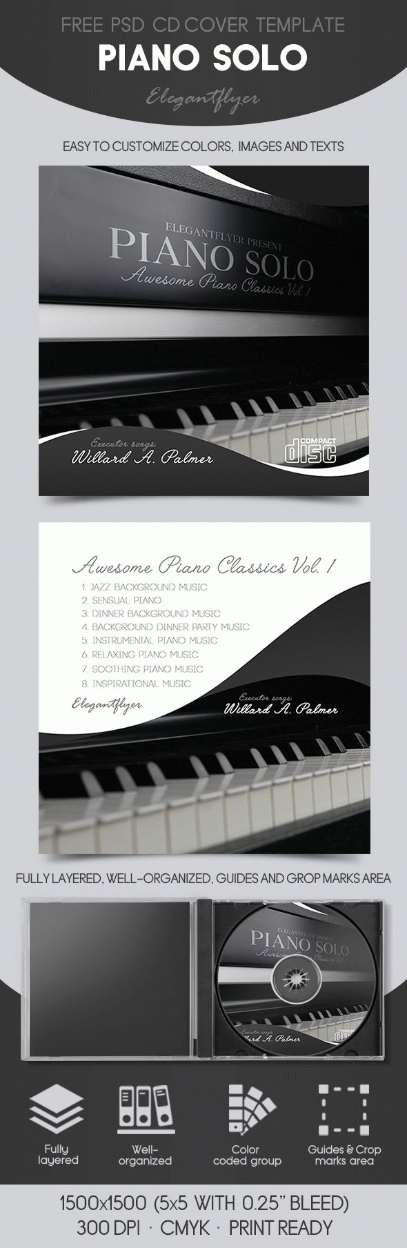 Piano Solo – Free CD Sleeve Template in PSD