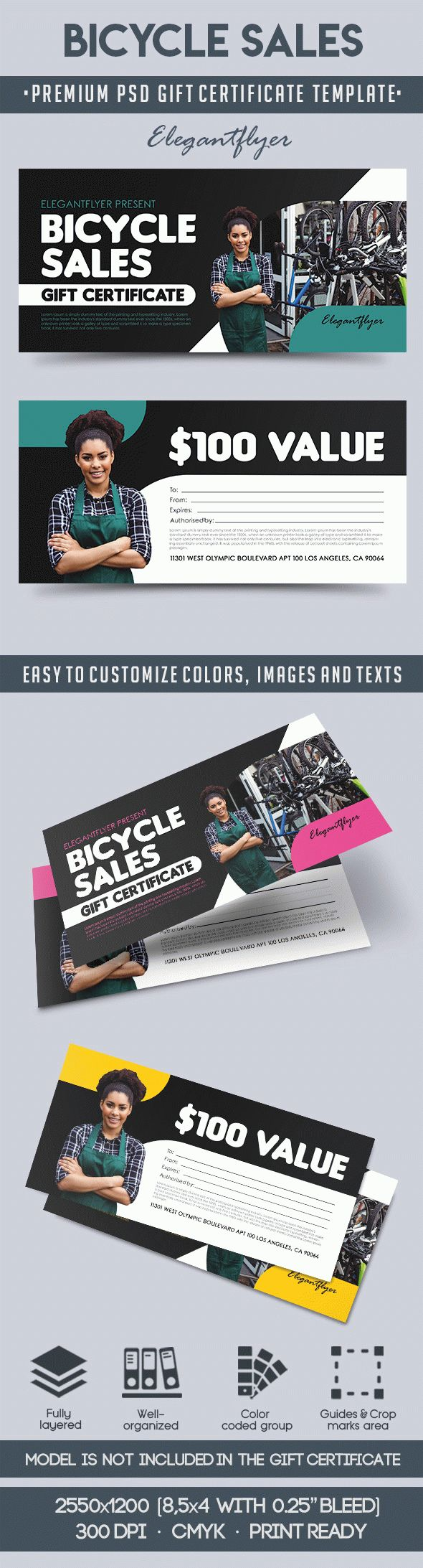 Bicycle Sales – Premium Gift Certificate PSD Template