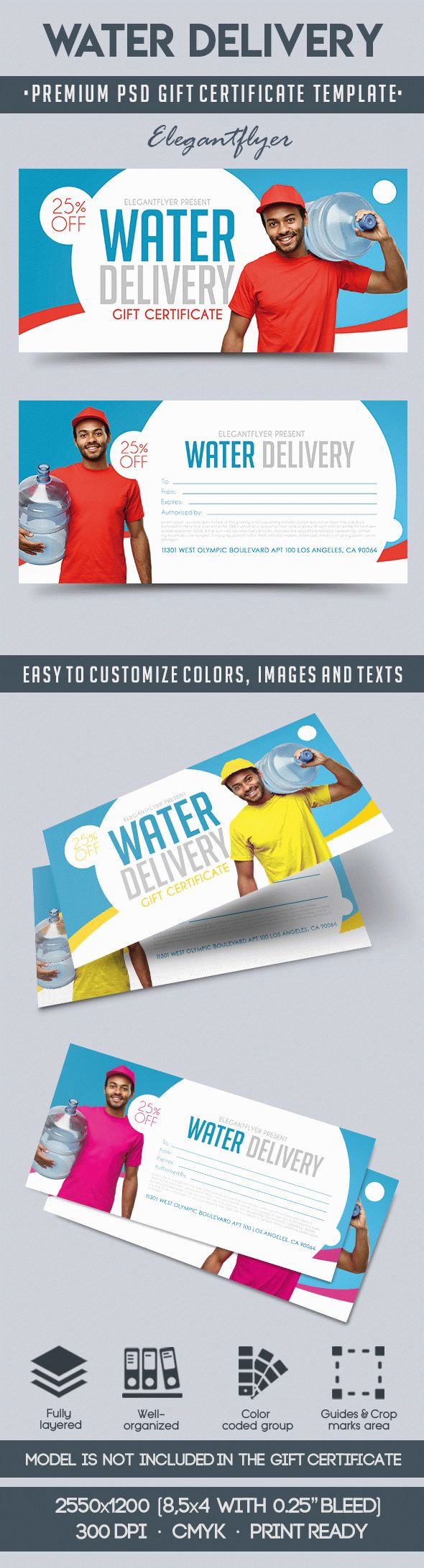 Water Delivery – Premium Gift Certificate PSD Template