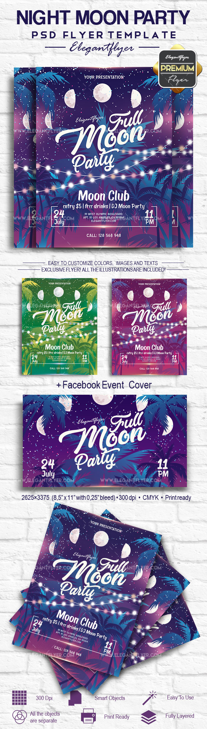 Night Moon Party – Flyer PSD Template