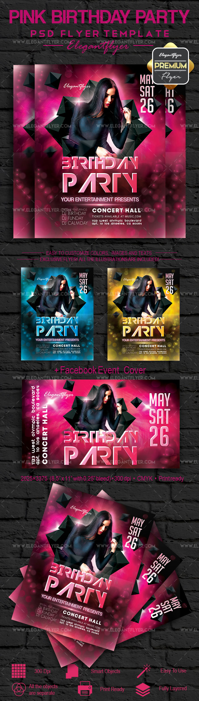 Pink Birthday Party – Flyer PSD Template