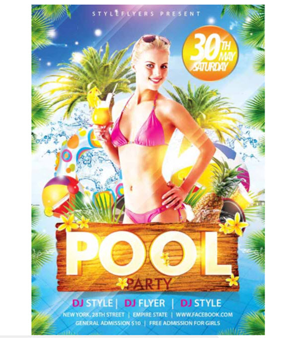 20 Hot Beach and Pool Party Invitation PSD Templates 2018 for Free