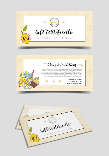 Lemon Shop – Free Gift Certificate PSD Template
