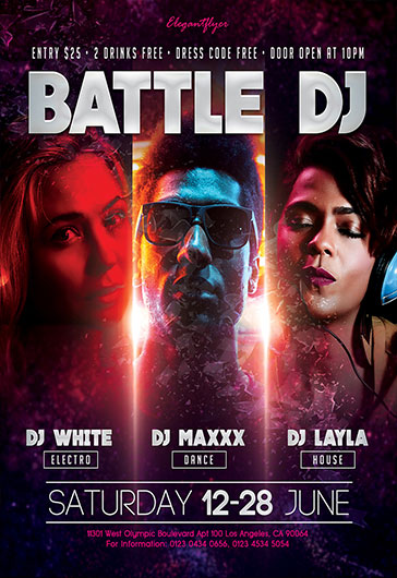 Battle DJ – Flyer PSD Template