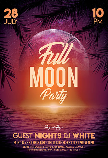 full moon party  u2013 flyer psd template  u2013 by elegantflyer