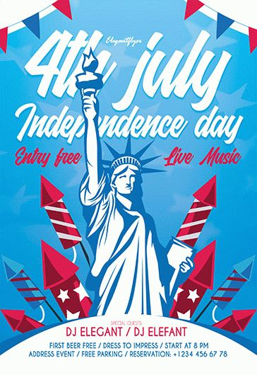free 4th of july flyer templates in psd by elegantflyer