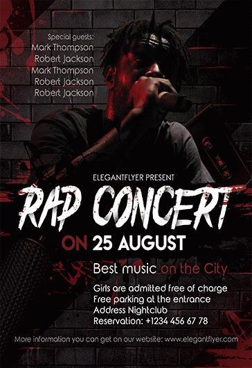 flyer template for rap concert  u2013 by elegantflyer