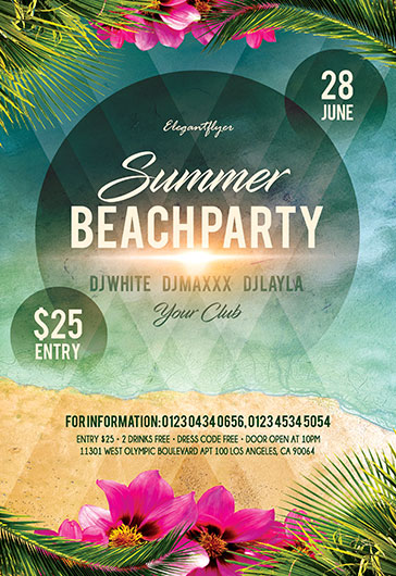 Tropical Sunday – Flyer PSD Template + Facebook Cover + Instagram Post