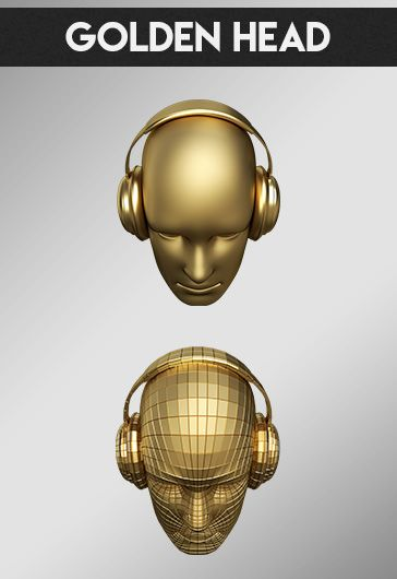 Golden Head – Free 3d Render Templates