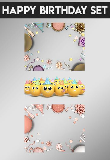 Happy Birthday Set – Premium 3d Render Templates