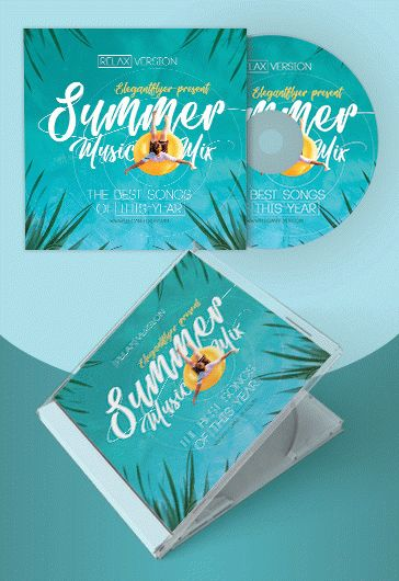 Summer Music Mix – Premium CD Cover PSD Template