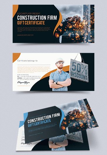 Construction Firm – Premium Gift Certificate PSD Template