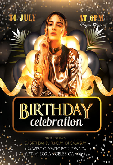 Gold Birthday Party – Flyer PSD Template