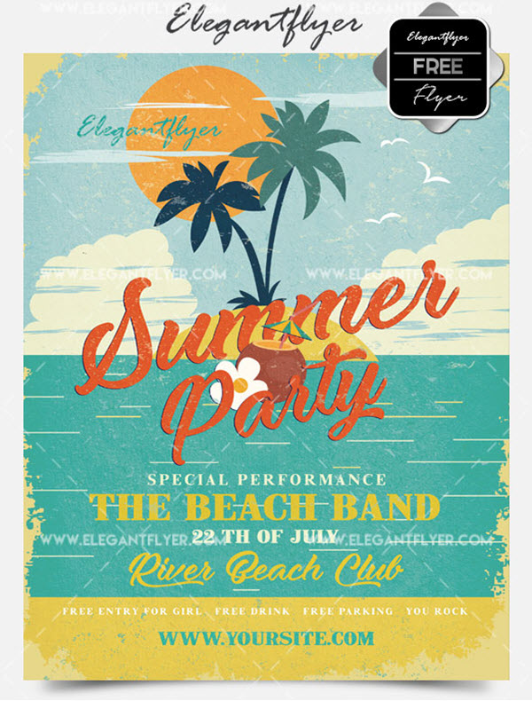 20 Free Downloadable Summer Party Flyer PSD Templates 2018