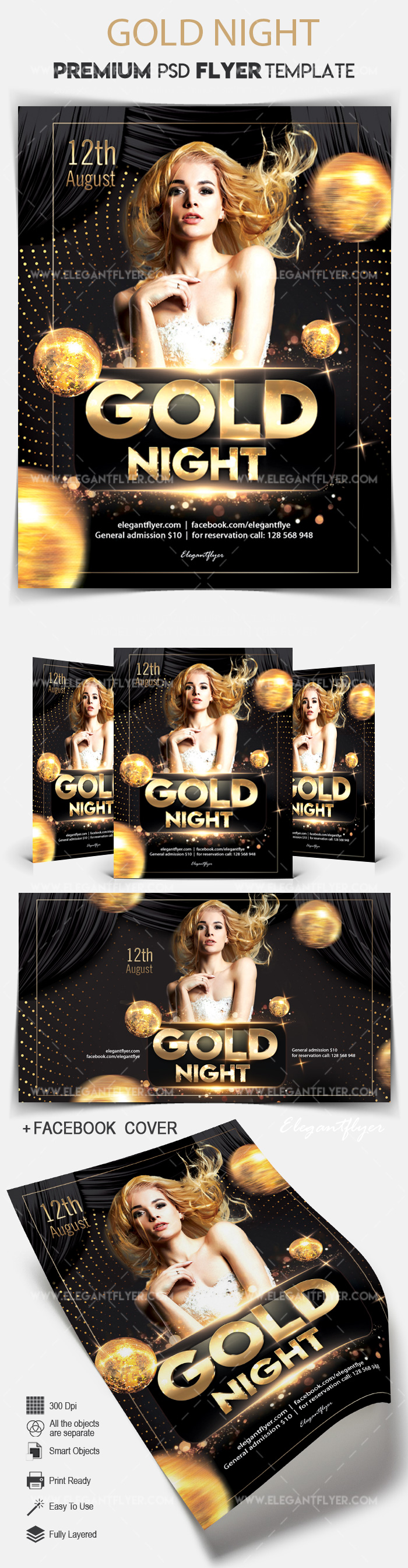 Gold Night – Flyer PSD Template