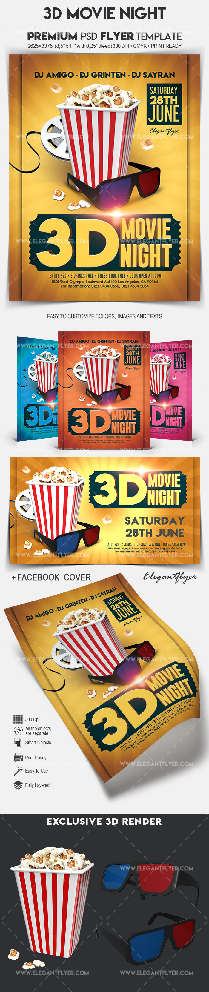 3D Movie Night – Flyer PSD Template