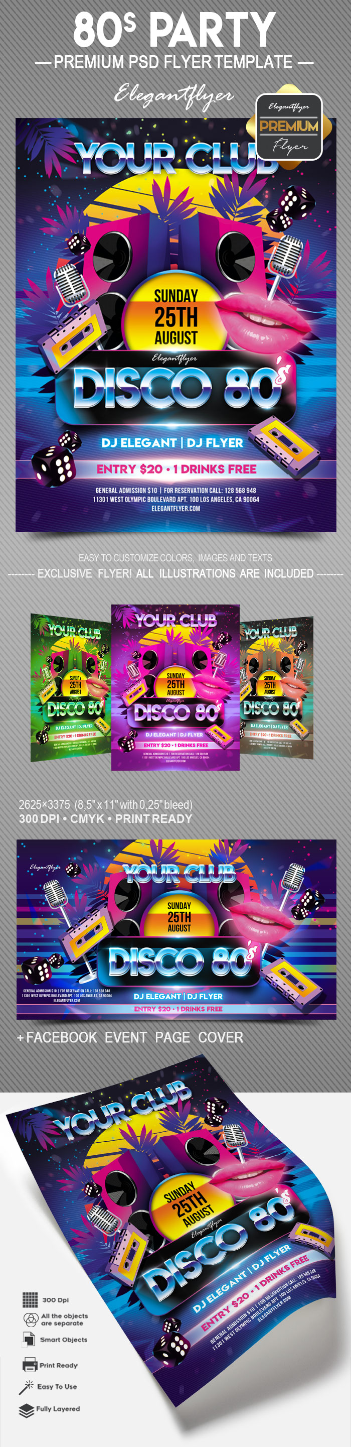 80 Party – Flyer PSD Template