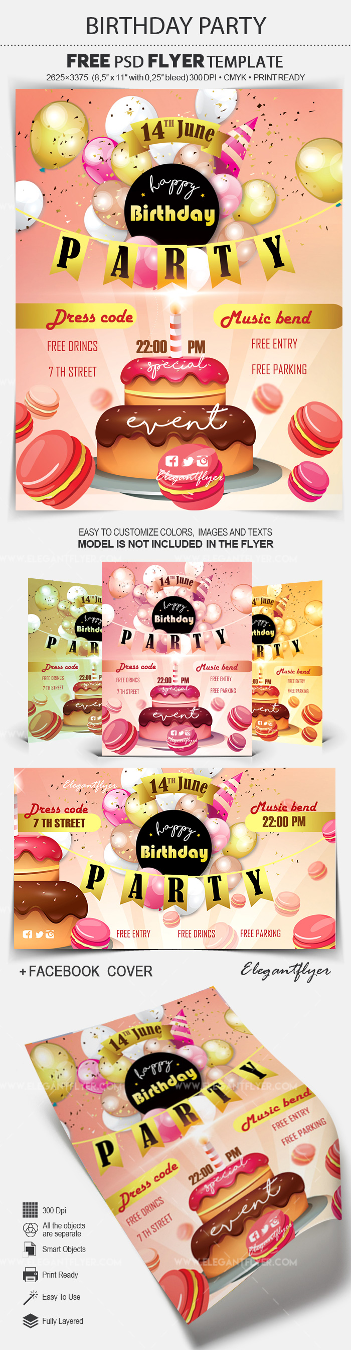 Birthday Party – Free Flyer PSD Template