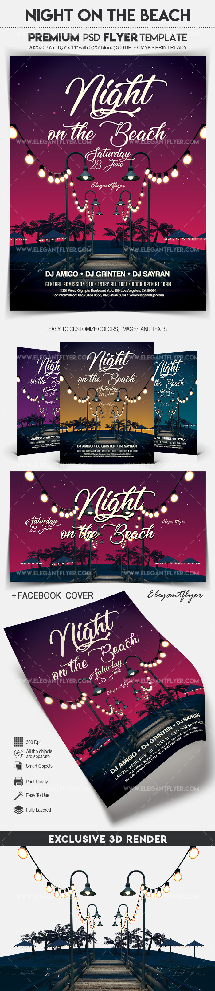 Night on the Beach – Flyer PSD Template