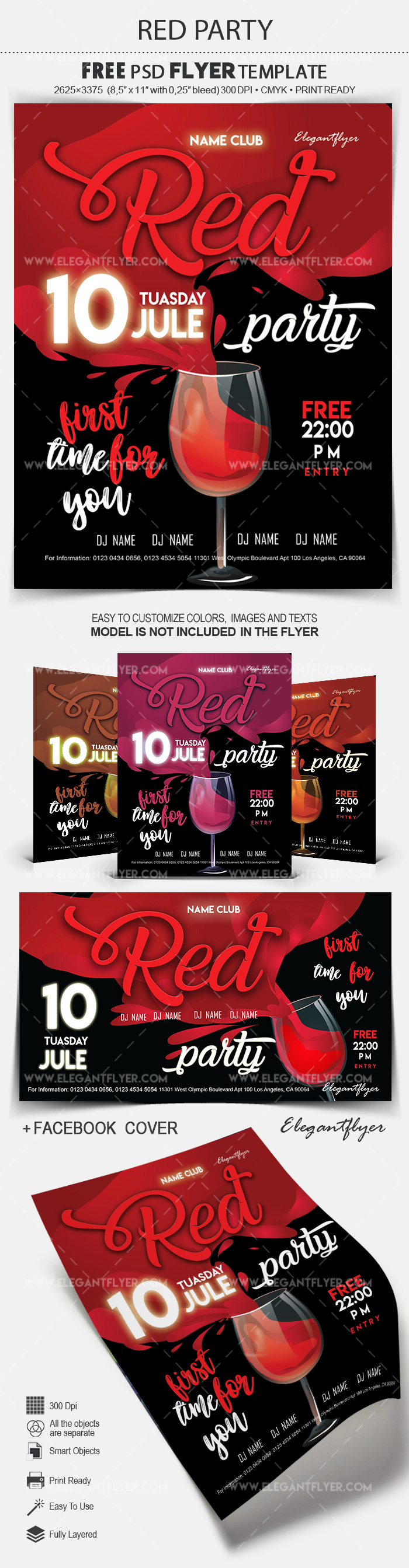 Red Party – Free Flyer PSD Template