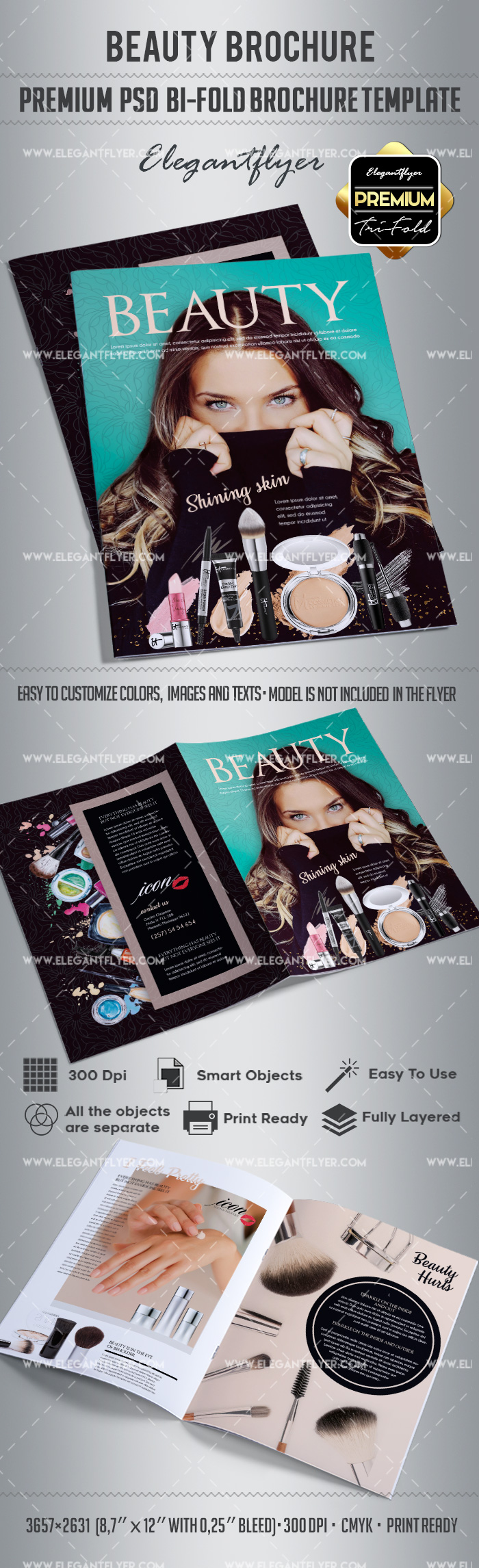 Beauty – Bi-Fold Brochure PSD Template