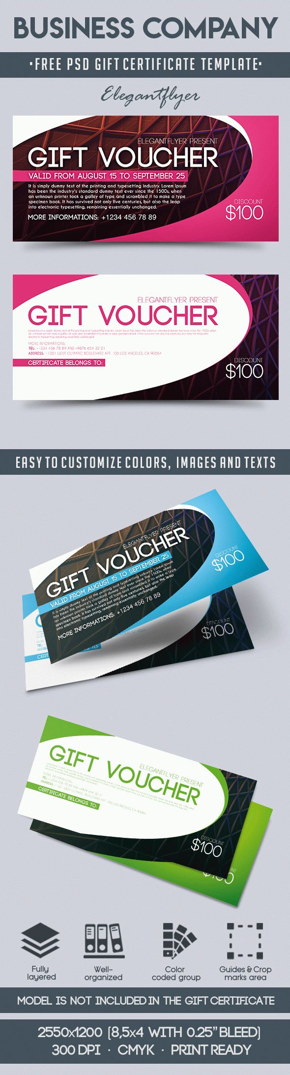 Business Company – Free Gift Certificate PSD Template