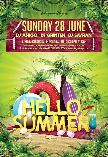 Hello Summer V02 – Flyer PSD Template