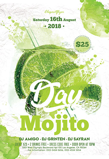 Mojito Ice Party – Free Flyer PSD Template
