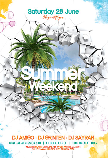 Summer Weekend V03 – Free Flyer PSD Template