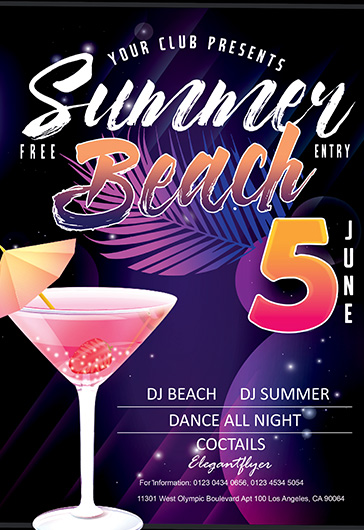 summer beach free flyer psd template