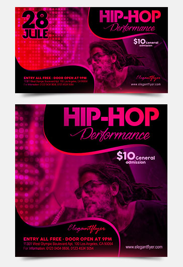 Rap Night – PSD Flyer Template + Facebook Cover + Instagram Post