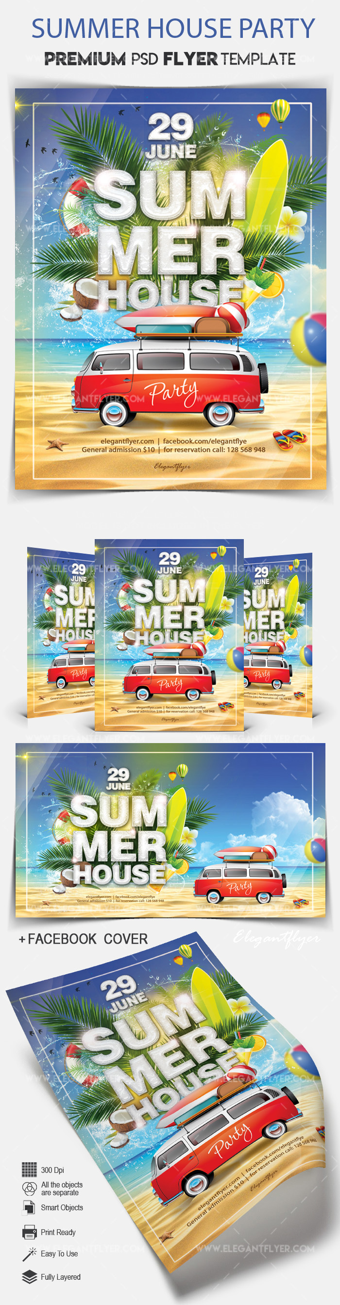 Summer House Party – Flyer PSD Template