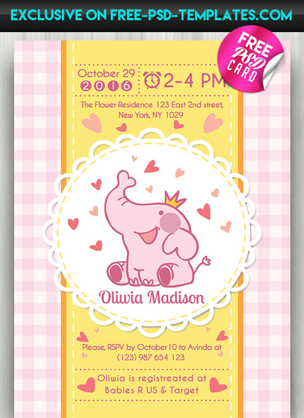 20 Free And Premium Baby Shower Invitation Templates In PSD For Girls Boys
