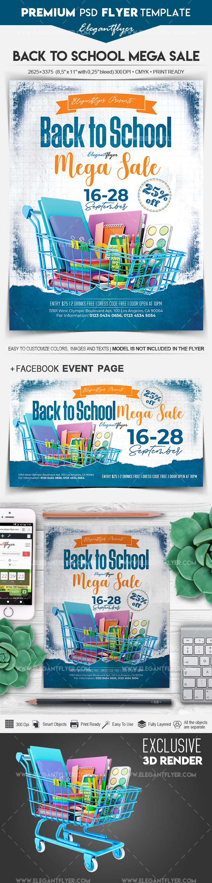 Back to School Mega Sale – Flyer PSD Template