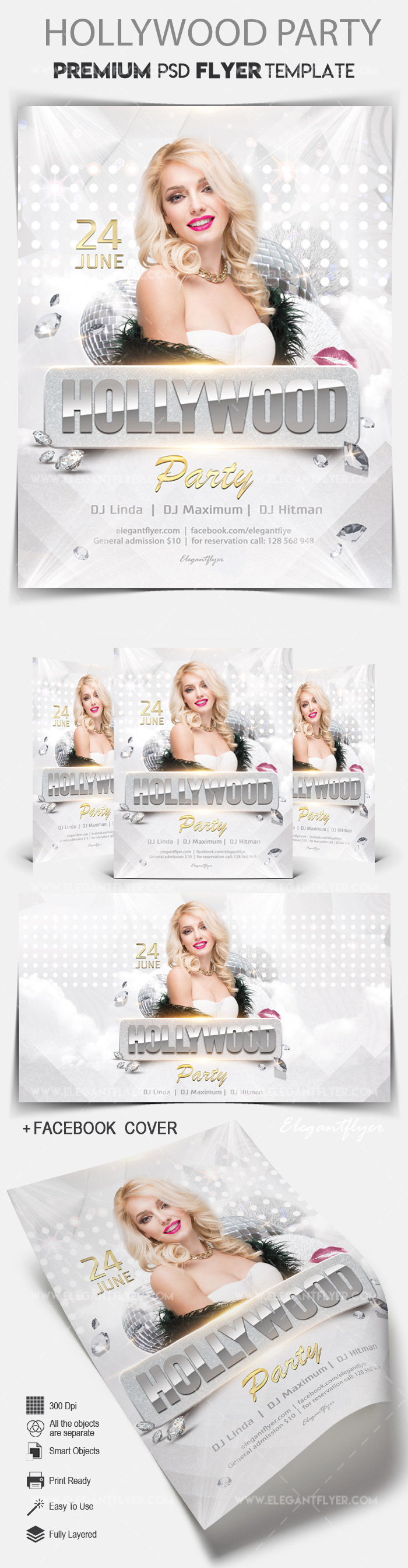 Hollywood Party – Flyer PSD Template