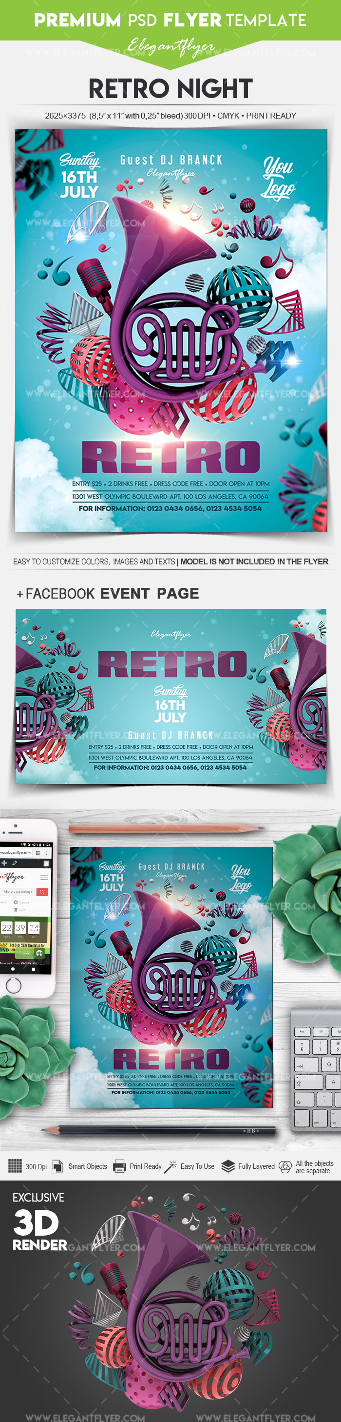 Retro Night – Flyer PSD Template