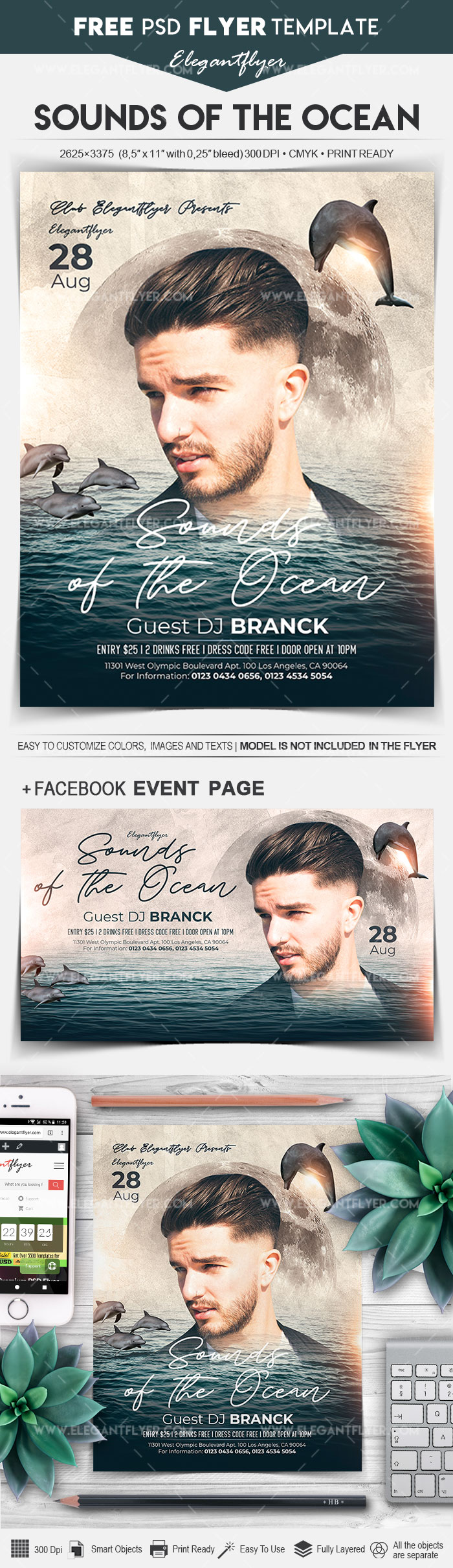 Sounds of the Ocean – Free Flyer PSD Template