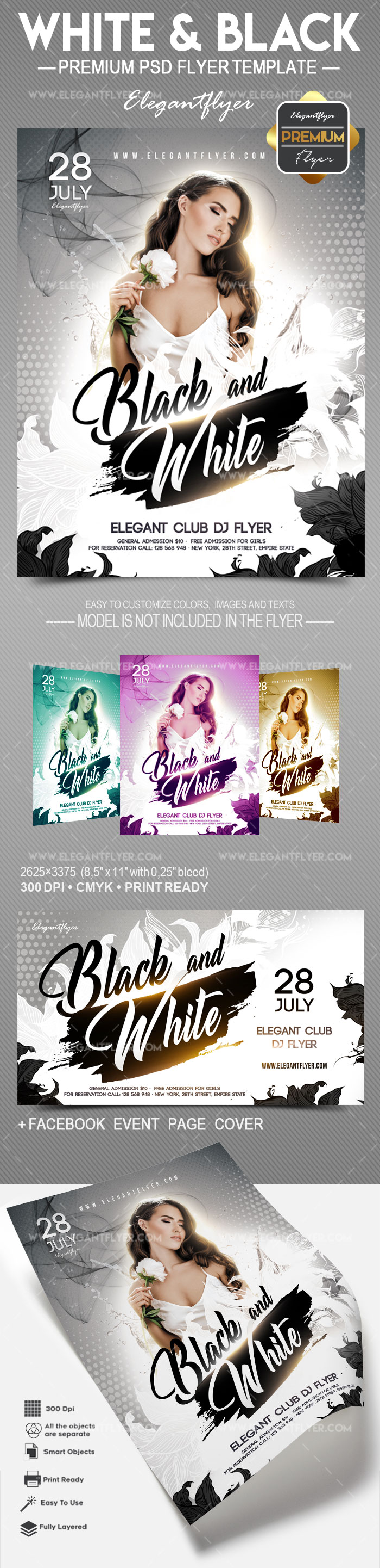 White and Black – Flyer PSD Template