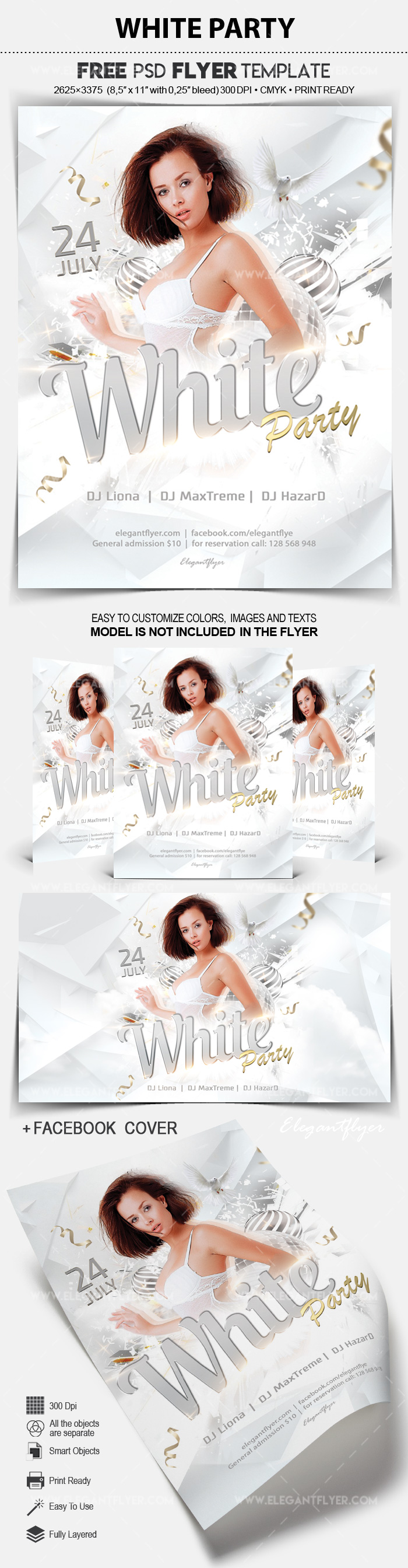 white party free flyer psd template by elegantflyer